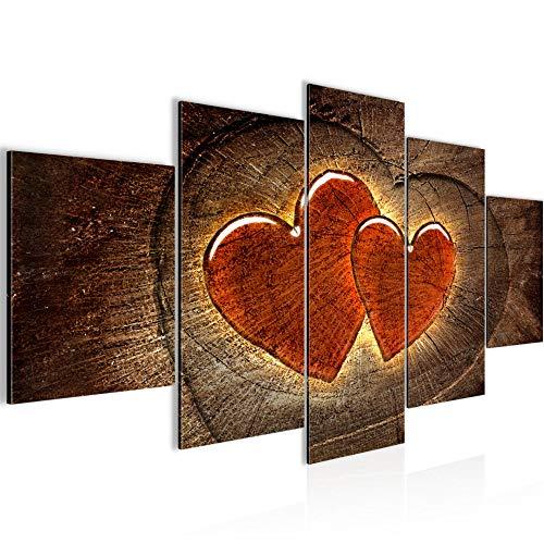Herzen Holz Bild Vlies Leinwandbild 5 Teilig Abstrakt Braun Rot Schlafzimmer Flur 104153a