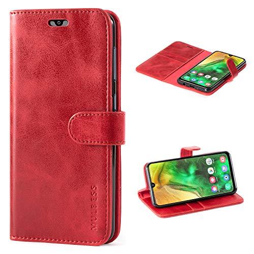Mulbess Handyhülle für Samsung Galaxy A50 Hülle, Leder Flip Hülle Schutzhülle für Samsung Galaxy A50 / A30s / A50s Tasche, Wein Rot