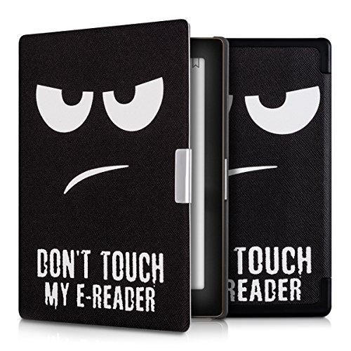 kwmobile Hülle kompatibel mit Kobo Aura Edition 1 - Kunstleder eReader Schutzhülle Cover Case - Don't Touch My E-Reader Weiß Schwarz