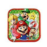 Lote de Cubiertos Infantiles'Super Mario Bros' (16 Vasos, 16 Platos y 20 Servilletas) .Vajillas y Complementos. Juguetes para Fiestas de Cumpleaños, Bodas, Bautizos y Comuniones.