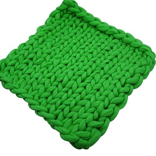WCX Manta De Punto Gruesa Hecha A Mano Manta De Punto De Lana para Mascotas Sofá Súper Tejido Manta De Lana Decoración para El Hogar (Color : Green, Size : 127x152cm)