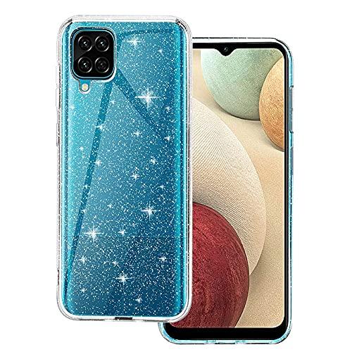 CHIMUCO Cover Compatibile con Samsung Galaxy A12 Custodia Glitter, Brillantini Clear Bling Flessibile TPU Sottile Trasparente Silicone Liquid Crystal Custodia Case