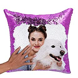 Purple Sequin Personalized Pillow Cover with Your Photos