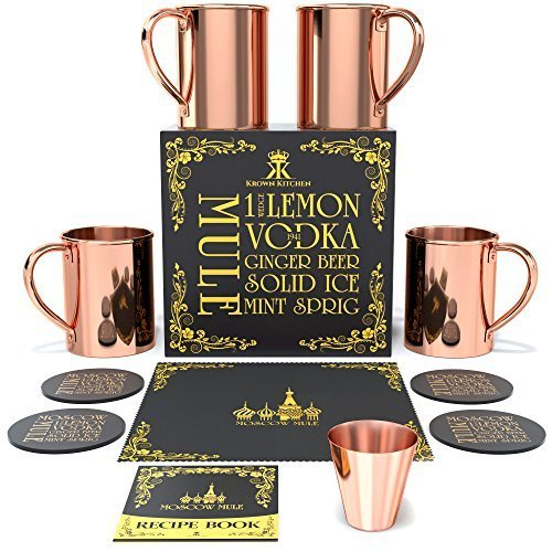 Krown Kitchen - Hammered Moscow Mule Copper Mugs Set of 4 Gift Set | 16 oz