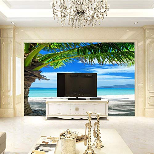 Moderne 3D Fototapete Palmenstrand 140CM x 100CM Wandbild Tapete Tv Hintergrund Wand Hauptdekoration