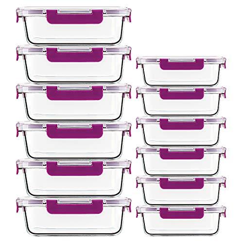 Confezione da 12 contenitori per alimenti in vetro - coperchi in plastica ermetici con chiusura a scatto, 2 dimensioni per la preparazione dei pasti, ottime scatole di vetro in movimento