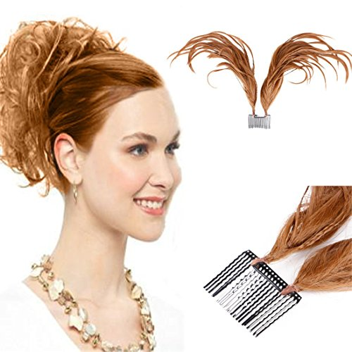 CLIP-ON CLAW ATTACHMENT(LIGHT BROWN)를 갖춘 여성 메시 번 포니테일용 QUEENTAS BENDABLE WIRES FOXTAIL COMB UPDO