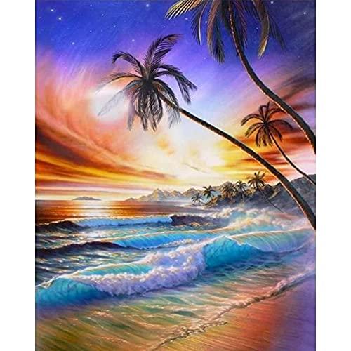 PhotoCustom pintura por números sobre lienzo paisaje de playa DIY pintura al óleo sin marco por números imagen de paisaje marino decoración del hogar W3 30x40cm