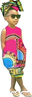 Kids Toddler Girls Clothes, African Boho Outfits Sleeveless Harem Romper Jumpsuit Bodysuit with Headband