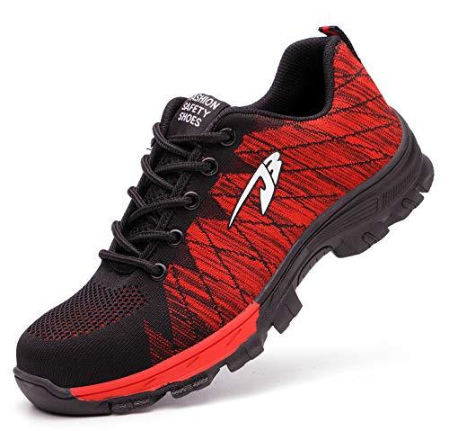 Ucayali Zapatillas de Seguridad Mujer Zapatos de Trabajo con Punta de Acero Calzado Protección Laboral Deportivos - Ultraligeras Transpirables y Cómodas, Rojo 37