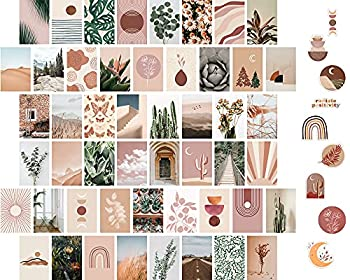ARTIVO Boho Wall Collage Kit Aesthetic Pictures Cute Bedroom Decor for Teen Girls 50 Set 4x6 inch Plant Wall Art Collage Kit Boho Trendy Decor Photo Collection