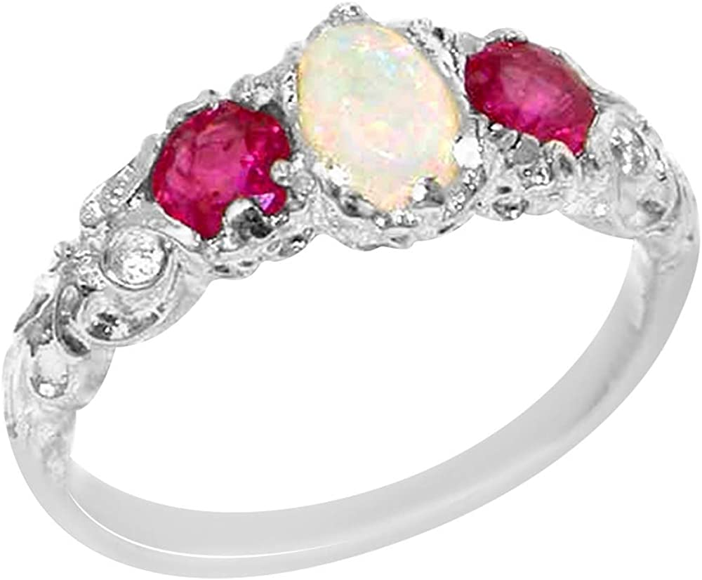 LetsBuyGold 10k White Gold Real Genuine Opal and Ruby Womens Band Ring