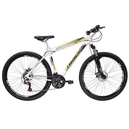 Bicicleta Aro 29 TB Niner Branca e Amarela Aço 21v MTB Aero Freio a Disco, Track Bikes