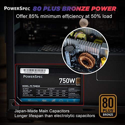 PowerSpec 750W Power Supply Semi Modular 80 Plus Bronze Certified ATX PSU Active PFC SLI Crossfire Ready Gaming PC Computer Switching Power Supply, PS 750BSM