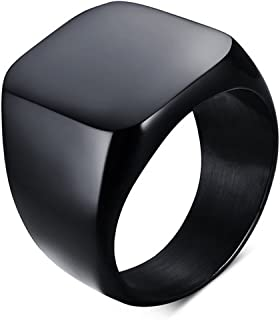 enhong Signet Biker Rings Solid Polished Stainless Steel Ring for Men Size 7-15,Black God Silver 3 Colors