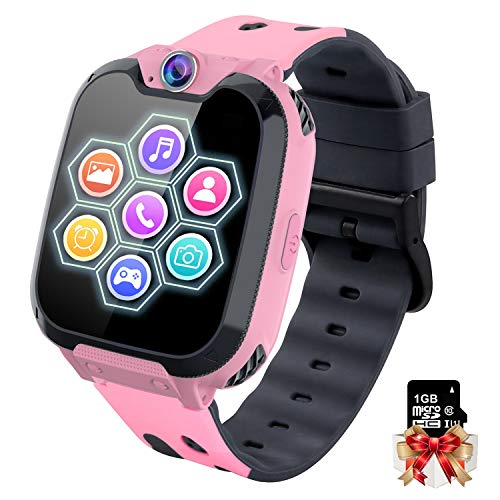 Montre Intelligente pour Enfants - Jeux Montre Enfants Garcon Fille, Appel Téléphonique Smart Watch avec Appareil Photo Alarme Musique MP3 (W/1GB SD Card), 3-12 Ys Utilisation Facile/Pas Besoin d'APP