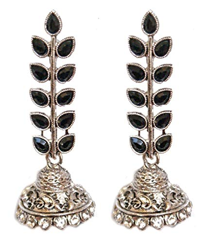 Pahal - Pendientes tradicionales de plata con diseño de hoja de Kundan grande, diseño de jhumka indio de Bollywood para mujer