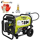 Ryobi 6300-Watt Propane Gas Powered Electric Start Portable Generator RY906300LP and Toucan City Nitrile Dip Gloves(5-Pack) and Voltage-tester