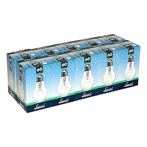 10 x Leuci Glühbirne Birnenform A55 60W E27 klar Glühlampe Glühbirnen Glühlampen warmweiß dimmbar (60 Watt)