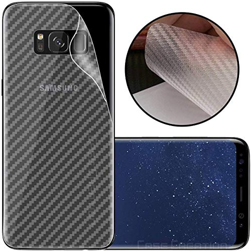 S-Softline Ultra Thin Slim Fit 3M Clear 3D Carbon Fiber Back Skin Rear Screen Guard Protector Sticker Protective for Samsung Galaxy S8 Plus (Transparent)