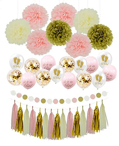 Girl Baby Shower Party Decoration - Its A Girl Baby Shower | Gender Reveal (WGW) Party, Pink Party Decoration, Its A Girl Balloons, Pink Tassels