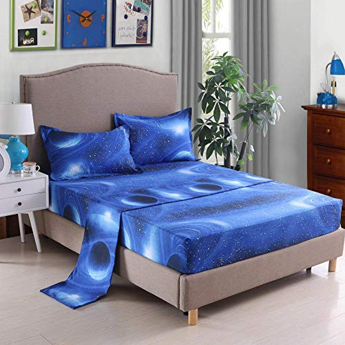 GTWOZNB Fitted Sheet -Breathable Soft and Comfortable - Wrinkle, Free, Stain and Abrasion Resistant 3d starry sky bed sheet-005_150cmx200cm
