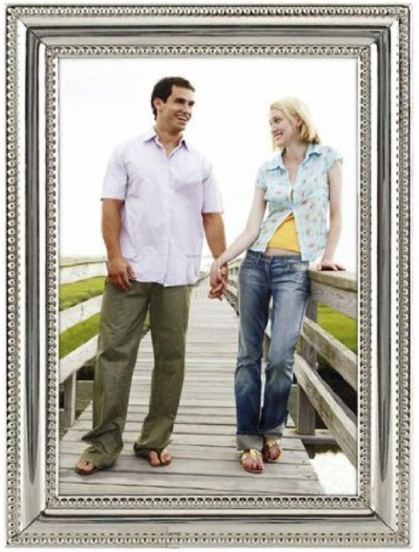 Malden International Designs plata Bead Wedding Collection Picture Frame, 5x7, plata by Malden International Designs