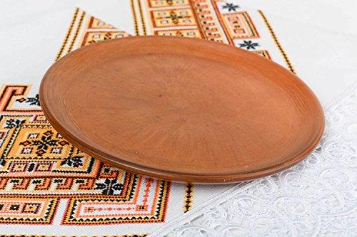 Large round flat handmade designer terracotta clay plate kitchen tools