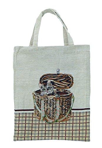 Bowatex Einkaufstasche Beutel Stofftasche Motiv 1 katze im Korb 40 x 32 cm Shopper Bag Tasche Bistro Gobelin Royaltex Signare Fa