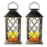 EXLECO Linterna Solar LED Linterna Exterior Jardín Linternas con Efecto Vela y Llama para Decoración Exterior, Jardín, Pasillo, Lámpara Solar para Patio [Clase Energética A +](2 Pcs)