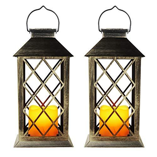 EXLECO Solar Lantern Gartenlaterne Laternen für Draußen mit Kerze und Flammen-Effekt für Draußen-Deko, Garten, Korridor, Hof Solarlampe [Energieklasse A+](2 Stück)
