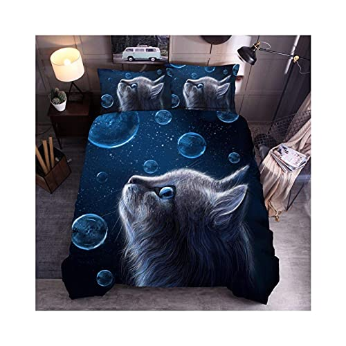 Juego de Funda Nórdica de La Serie de Fotos de Gato Juegos de Cama con Estampado de Animales 2/3 Piezas Fundas de Edredón 3D / Fundas de Almohada,A-SetSingle:135×200cm