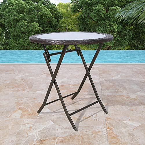 Patio Tree Outdoor 27' Round Wicker Folding Dining Table