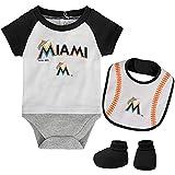 MLB Newborn Baseball Kid Bodysuit, Bib & Booties Set - White (3/6 Months, Miami Marlins)