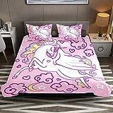 Juego de funda de edredón de microfibra de fácil cuidado con diseño de unicornio de fantasía rosa de 3 piezas con funda de edredón y fundas de almohada con cremallera para niños y niñas