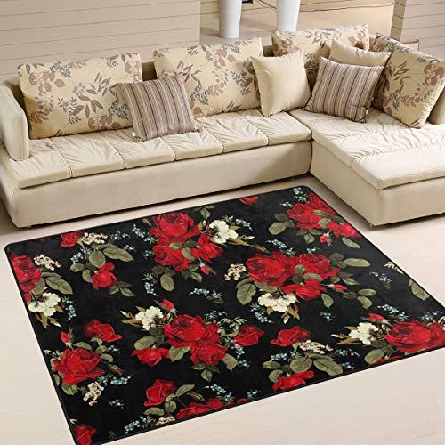 Ahomy Teppich mit Blumenmuster und Rosen, für Wohnzimmer, Fußboden, Schlafzimmer, Esszimmer, Küche, Zuhause, Urlaub, Dekoration, 160 cm x 122 cm, Multi, 63 x 48 inch