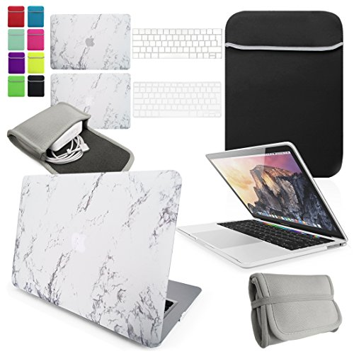 LOVE MY CASE / BUNDLE White MARBLE Hard Shell Case with matching KEYBOARD Skin, NEOPRENE Cover and Charger Sleeve Pouch for 12-inch Apple MacBook A1534 [2015 Model] [NOT compatible with Pro or Air]