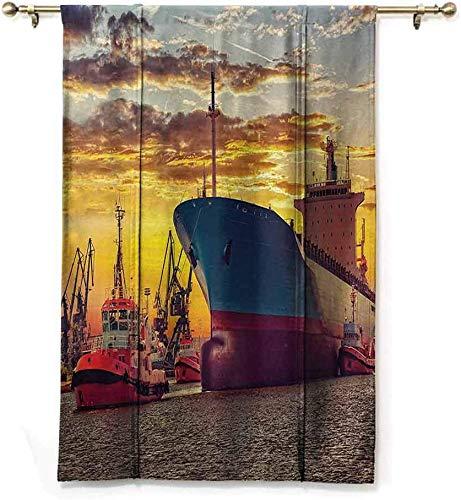Nautische gordijnen, reuzendecoratie, voor transport, boot, trekker, aanhanger, haven in de stad, water in de zonsondergang, fotobescherming, bescherming voor de privacy, W122 x H183 cm