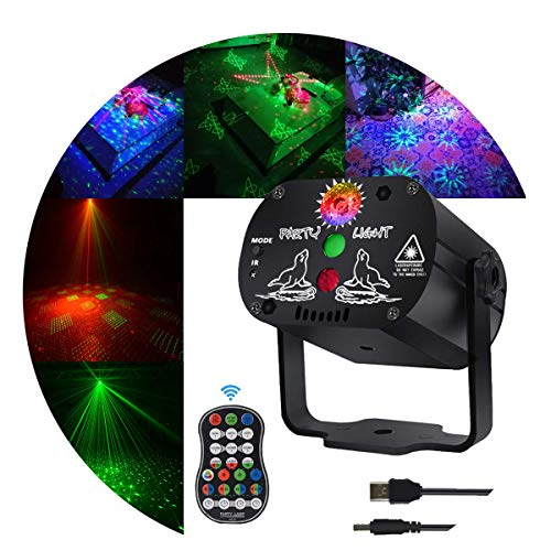 Stage and led Lights KisMee DJ Disco Projector Party Lights Sound Activated Time Function with Remote Control for Xmas Club Bar Halloween Decorations Gift Birthday Wedding
