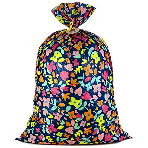Hallmark 56' Jumbo XL Plastic Gift Bag (Pink and Yellow Flowers) for Birthdays, Mother's Day, Bridal Showers, Baby Showers, Engagements, Weddings and More