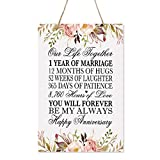 LifeSong Milestones Floral 1st Anniversary Plaque 1 Year of Marriage -...