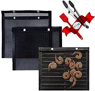 3PACK,BBQ Grill Mesh Baked Bag,High Temperature Resistance Reusable Easy to Clean Outdoor Picnic Tool for Outdoor Picnic C...
