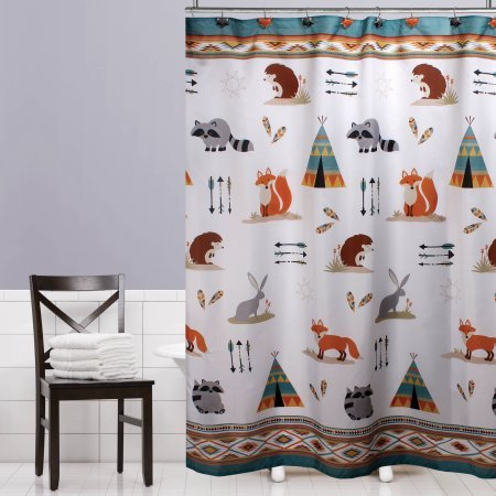Mainstays Kids Woodland Creatures Fabric Shower Curtain