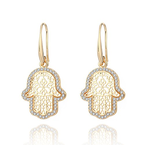 Dangle Earring for Women,Hamsa Hand Drop Earring Girls Gold and Silver Earrings with CZ Crystal Stainless Steel Hook Earring (Gold Plated Hamsa Hand)