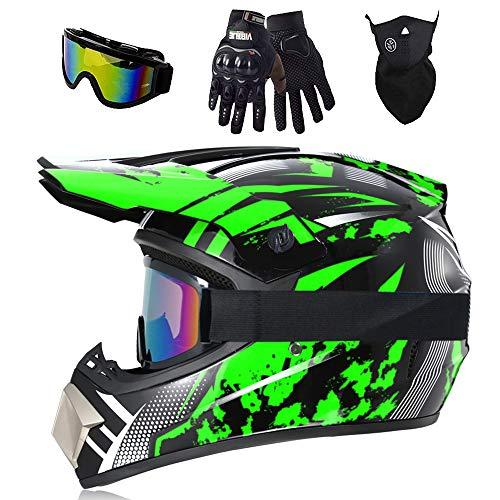   Casco de motocross   Enduro Moto   Casco infantil de moto   (guantes, gafas de protección, máscara, juego de 4 piezas), Unisex Fullface Cross Casco, carcasa ABS (verde, M)