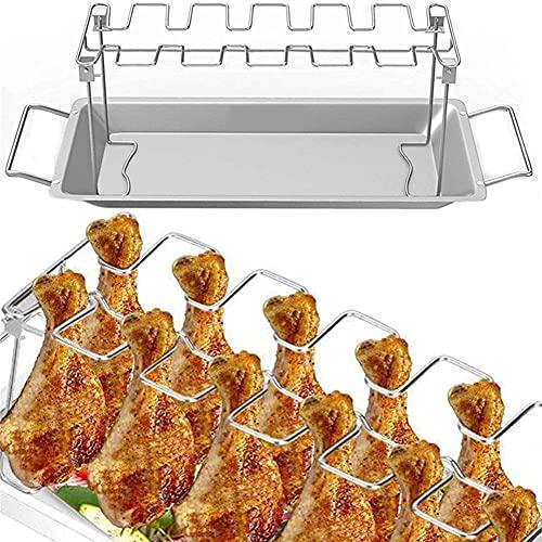 XER Parrilla de ala de Pierna de Pollo Parrilla de Muslos de Pollo BBQ Soporte para Tostador con Bandeja de Goteo Cuelga hasta 14 Patas o alitas de Pollo
