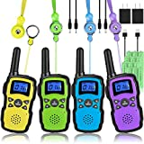 Wishouse Walkie Talkies for Kids Adults Rechargeable Long Range 4 Pack with 2 USB Chargers 12 Batteries,Family Walky...