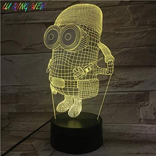 Lámpara De Ilusión 3D Luz De Noche Led Única Para Niños Despicable Me 2 Minions Decorativa Para Dormitorio De Niños Mejor Cumpleaños Para Niños