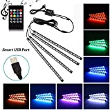 Car Neon Accent LED Strip Light, Multicolor Music Car Interior Atmosphere Lights For Car interior lighting with Sound Active Function, Wireless Remote Control, Car Charger (48 LED, 225MM, USB)