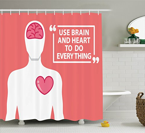 Quotes Decor Shower Curtain Set by Ambesonne, Human Shape With Words